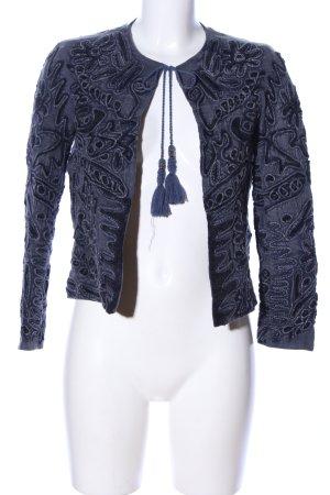 Zara Woman Übergangsjacke blau abstraktes Muster Elegant