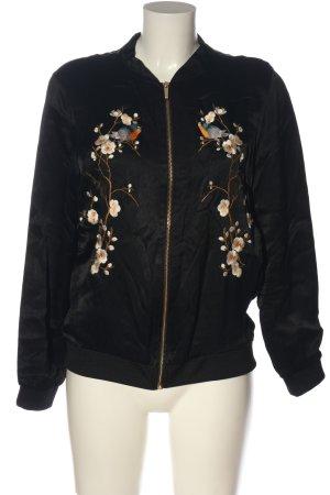 Zara Woman Übergangsjacke schwarz Blumenmuster Casual-Look