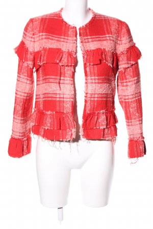 Zara Woman Übergangsjacke rot-weiß Karomuster Casual-Look