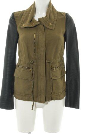 Zara Woman Übergangsjacke khaki-schwarz Casual-Look