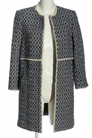 Zara Woman Übergangsmantel wollweiß-blau Allover-Druck Casual-Look