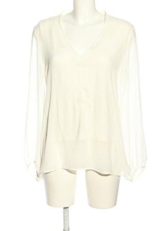 Zara Woman V-Ausschnitt-Pullover creme Casual-Look