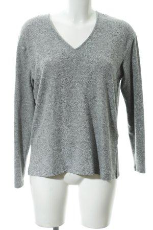 Zara Woman V-Ausschnitt-Pullover hellgrau meliert Casual-Look