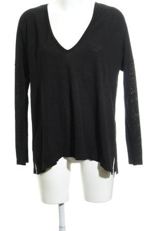 Zara Woman V-Ausschnitt-Pullover schwarz Casual-Look