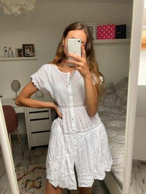 Zara Woman Vestido tipo túnica blanco Algodón