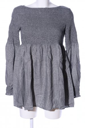 Zara Woman Vestido estilo flounce gris claro estampado a cuadros look casual