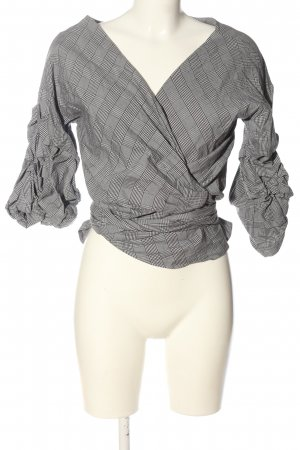 Zara Woman Kopertowa bluzka czarny-biały Na całej powierzchni W stylu casual