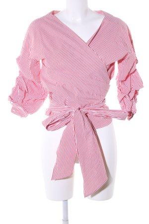Zara Woman Wickel-Bluse pink-weiß Streifenmuster Casual-Look