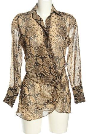 Zara Woman Wickel-Bluse braun-schwarz Allover-Druck extravaganter Stil