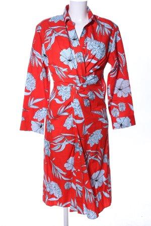 Zara Woman Wickelkleid rot-hellgrau Blumenmuster Casual-Look