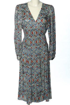 Zara Woman Vestido cruzado estampado repetido sobre toda la superficie