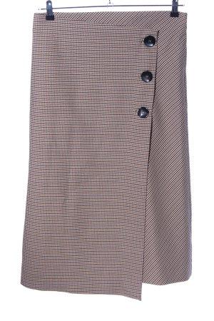 Zara Woman Wraparound Skirt brown-natural white allover print business style