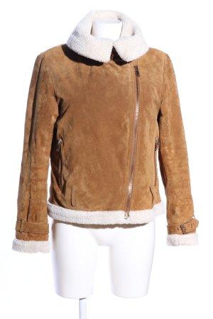 Zara Woman Winterjacke bronzefarben-weiß Casual-Look