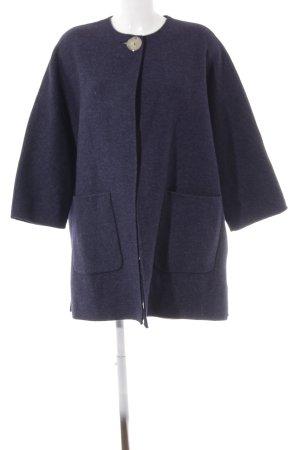 Zara Woman Wollmantel dunkelblau-stahlblau Streifenmuster Elegant