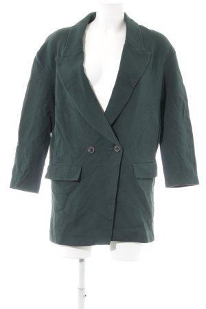 Zara Woman Wollmantel dunkelgrün Casual-Look