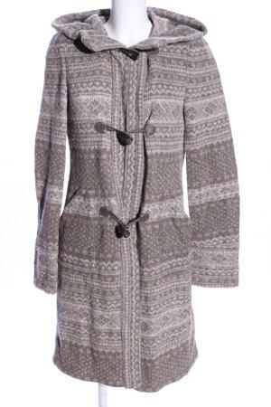Zara Woman Abrigo de lana gris claro estampado repetido sobre toda la superficie