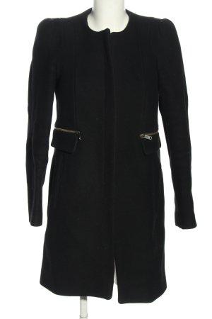 Zara Woman Wollmantel schwarz Business-Look
