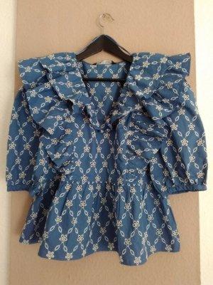 Zara wunderschöne Bluse mit Volants und Stickerei aus 100% Baumwolle, Grösse M