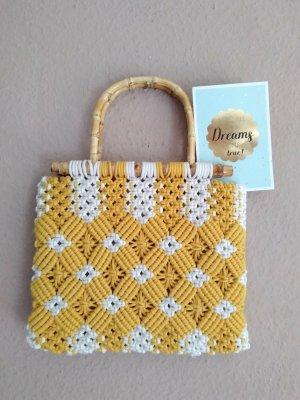 Zara wunderschöne geflochtene Tasche aus Baumwolle und Bambus, neu