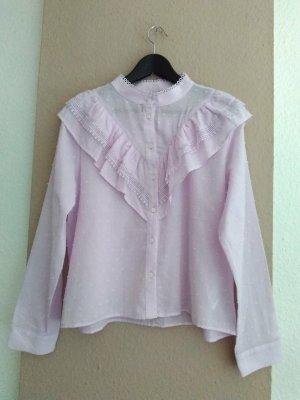 Zara wunderschöne Plumetis Hemdbluse mit Volantdetail aus 100% Baumwolle, Größe M, neu