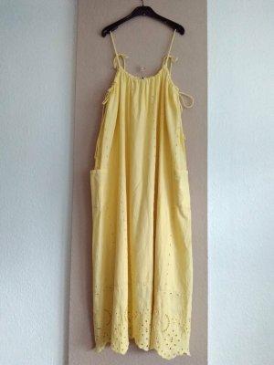 Zara wunderschönes langes Trägerkleid mit Lockstickerei in gelb, 100% Baumwolle, Grösse L, neu