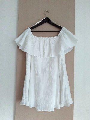 Zara wunderschönes Minikleid mit Volant in weiss, Grösse M, neu