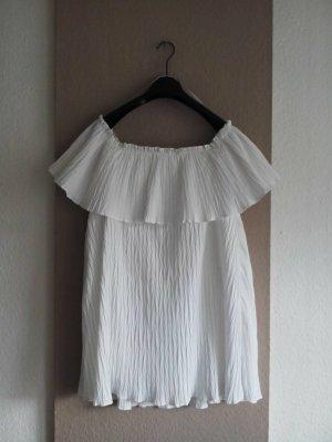 Zara wunderschönes Minikleid mit Volant in weiss, Grösse S neu