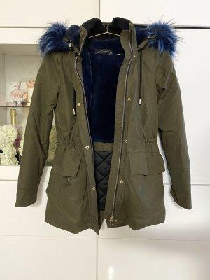 Zara XXL Kragen Blau Khaki Grün Parka Mantel Größe 34/XS
