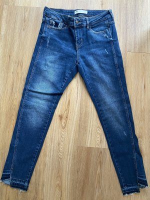 ZARA Z1975 Skinny Slim Fit Jeans Denim offener Saum Destroyed