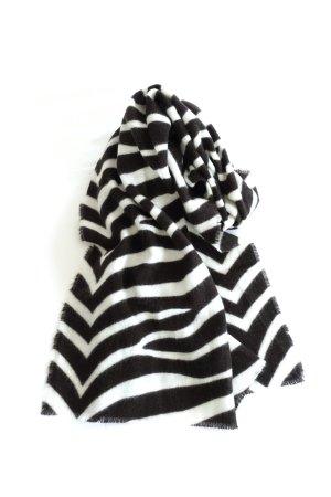 Zara Écharpe en tricot noir-blanc cassé