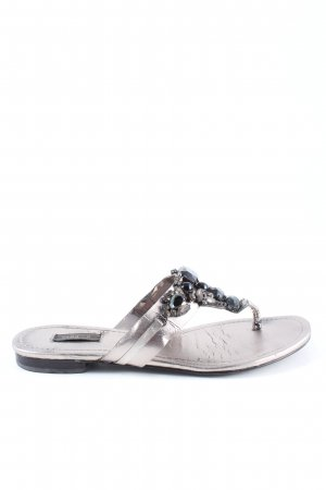 Zara Toe-Post sandals silver-colored-black casual look
