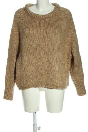 Zara Pull torsadé brun Motif de tissage style décontracté