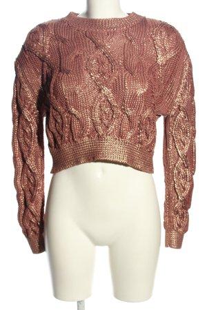 Zara Jersey trenzado color bronce-color oro Poliéster