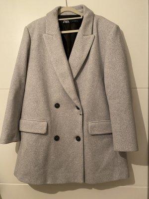 Zara Zweireihiger Mantel Grau
