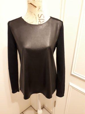 ZARAKNIT Leather Blouse black polyester
