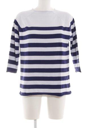 ZARAKNIT Ringelshirt weiß-blau Streifenmuster Casual-Look