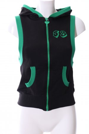 Fleece Vest black-green embroidered lettering casual look