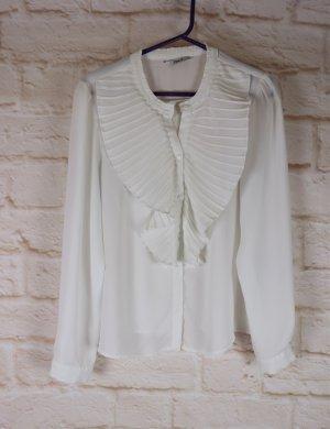 Zart Bluse Rüschen Langarmbluse Only Größe 38 Weiß Plissee Plastron Büro Business Kofferbluse