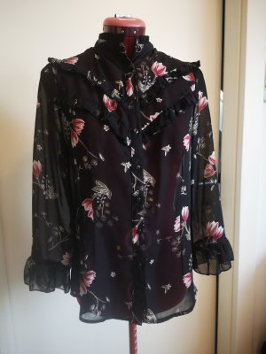 Ruffled Blouse black-dark red