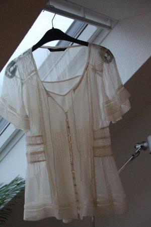 Zarte Bluse von Zara Woman in creme Gr. S