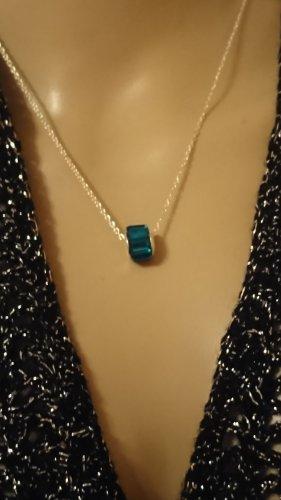Zarte Halskette 925 Collier dunkelgrün Krystall Stein