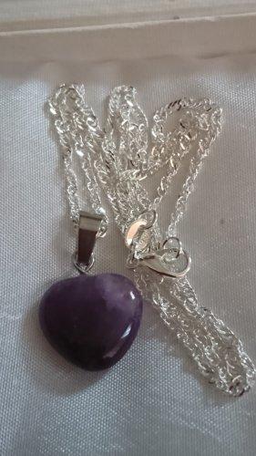Naszyjnik srebrny-ciemny fiolet