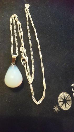 Zarte Halskette 925 mit Mondstein Tröpfchen Anhänger