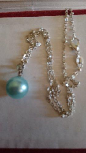 Zarte Halskette 925 mit  Perle Anhänger Hellgrün