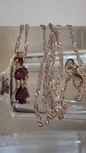 Zarte Halskette Collier 925 mit Amethyst Anhänger Kätzchen