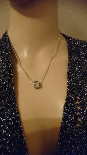 Zarte Halskette Collier 925 mit Silber Hellgrüne Krystall Anhänger