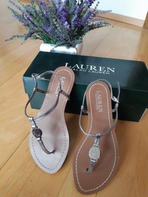 Lauren by Ralph Lauren Toe-Post sandals brown-silver-colored mixture fibre