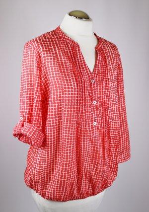 Zarte Tunikabluse Tunika Bluse Anna Larssen Größe M 40 Weiß Rot Punkte Sommer Gummibund Shirt Baumwolle