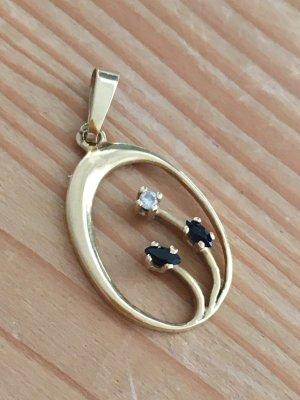 Zarter Anhänger Vintage : Gold mit Edelsteinen und Diamant