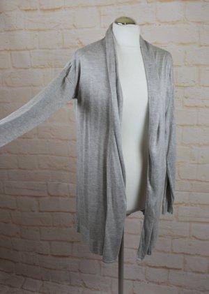 Zarter Strickcardigan Long Jacke Up Fashion Größe M 38 Hellgrau Meliert Lang Cape